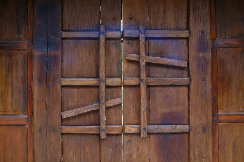 Architecture Backgrounds Brown Built Structure Close-up Closed Day Door Entrance Full Frame Indoors  Latch No People Old Pattern Protection Safety Security Wood Wood - Material