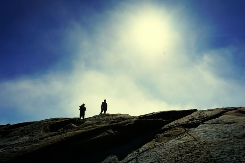 Two People Silhouette Walking Outdoors Sky Nature Hiking
