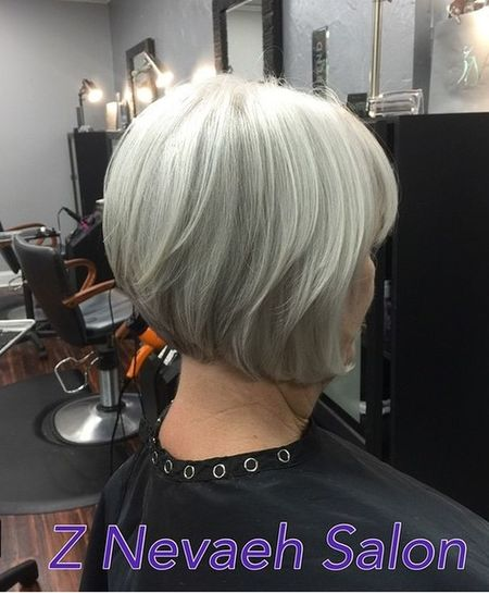 Cute graduated haircut with grey hair color Check This Out Z Nevaeh Salon L'Oreal Professionnel Shiny Textured Haircut Bobcut Greyhaircolor