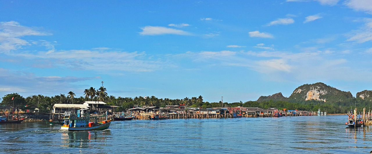 Fishingboat return from the sea in the morning Blue Boat Chumphon Lang Suan Lang Suan Rive Mode Of Transport Nature Pak Nam Lang Suan Sky Thailand Transportation Waterfront