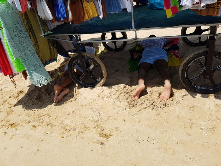 Sleeping Men Sand Relaxation Summer Beach Vacations Puglia Hot Day
