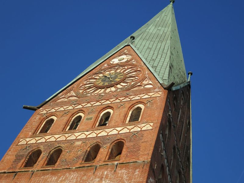 Architecture Blue Brick Building Built Structure Church Church Tower City Day Germany Gothic Low Angle View Lüneburg Niedersachsen No People Sky St. Johannis St. Johanniskirche St. Johns Church Tall - High