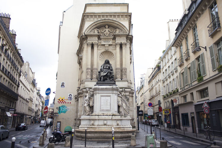 Panoramic view of statue amidst buildings in city