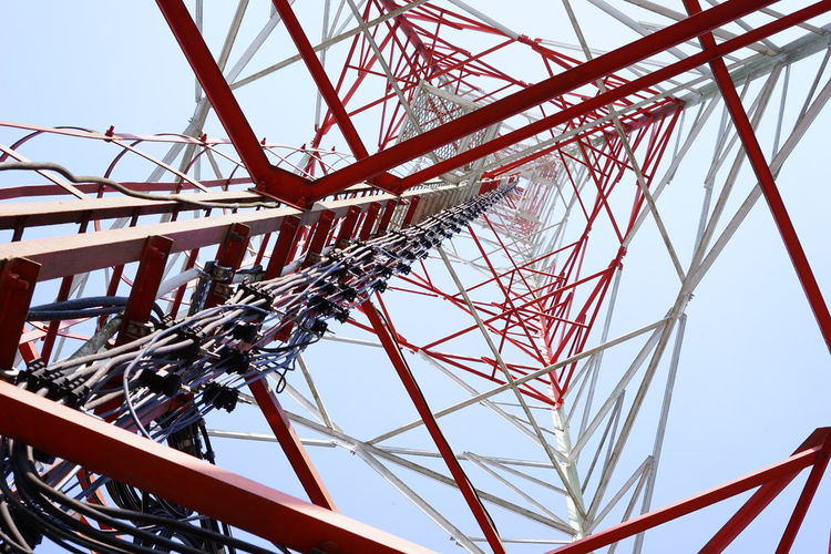 tower Built Structure Communication Industry Metal Red Steel Technology Tower