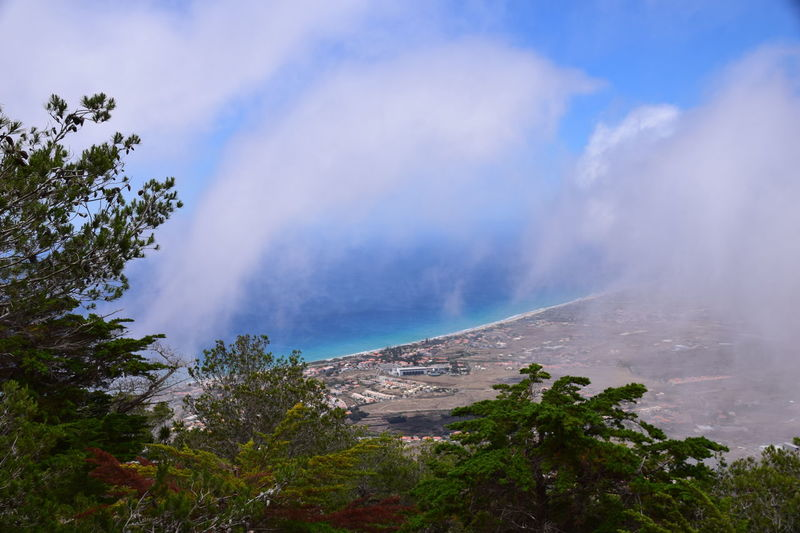 The clouds rolled in with the view of Vila Baleira from Pico do Castelo Porto Santo Madeira Pico Do Castelo Porto Porto Portugal 🇵🇹 Porto Santo Portugal View Beauty In Nature Cloud - Sky Day Landscape Mountain Mountain Range Nature No People Outdoors Pico Porto Santo Island Scenics Sky Tranquility Tree View Point Vila Baleira Water