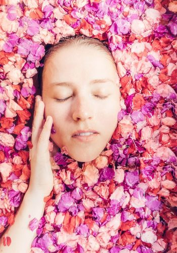 Beauty care Youth Skin Care Skin Beauty Care Spa Eyes Closed  One Person Headshot Portrait Young Adult Relaxation Front View Flower Lying Down Flowering Plant Young Women Beauty Human Face Women Real People