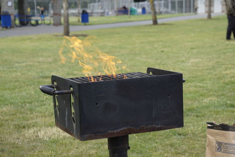 Fire in barbecue on grassy field