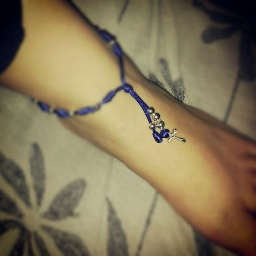 The Bracelet I Got Today While Visiting My Grandpa's Grave. Turned It Into A Ankle Bracelet. I'll Never Take It Off.