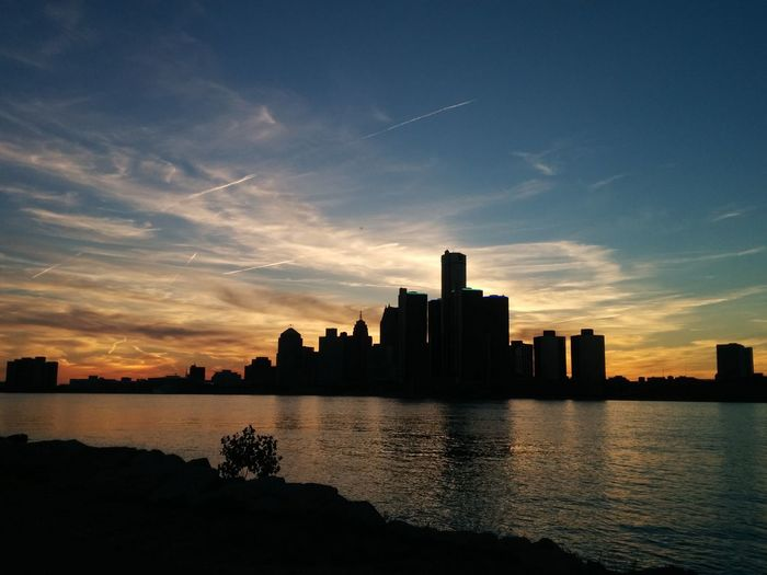 Sky, Clouds And Building Sunset Built Structure Detroit Silhouette