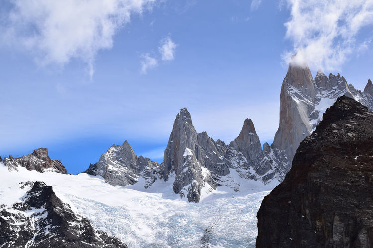 Fitz Roy Fitz Roy Peaks Fitzroy Beauty In Nature Cold Temperature Day High Laguna De Los Tres Landscape Mountain Mountain Peak Mountain Range Nature Non-urban Scene Outdoors Panoramic Rock Scenics - Nature Sky Snow Snowcapped Mountain Tranquil Scene Tranquility Winter