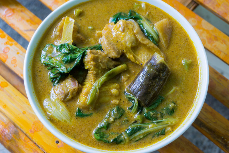 Kare kare a filipino food Bamboo Table Ceramic Dishes Egg Plant Filipino Dish Foodstagram Kare Kare Filipino Dish Philippines ❤️