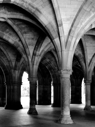 Cloisters at Glasgow University. Blackandwhite Black And White Black & White Monochrome Light And Shadow Glasgow  GlasgowUniversity Cloister