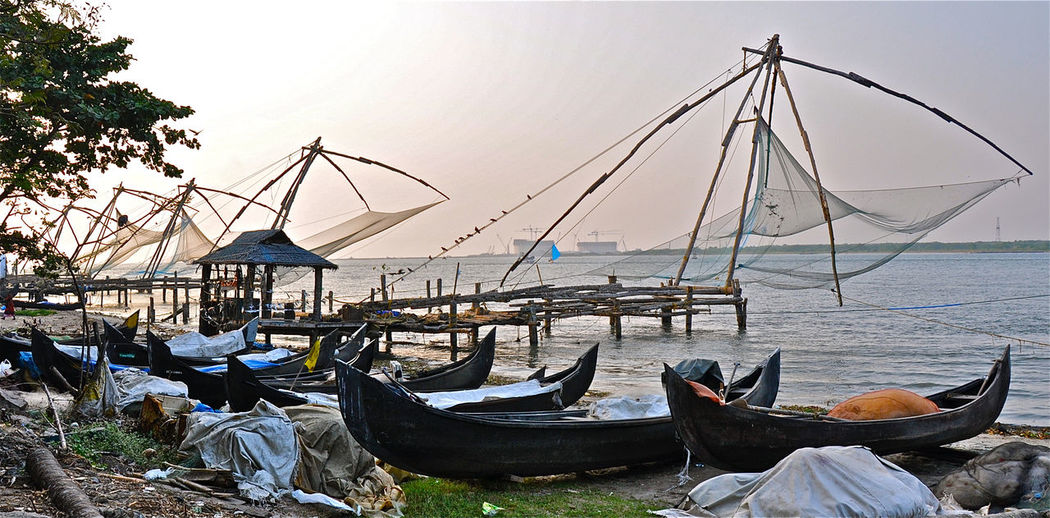 Cochin Fishing Fishing Net India Kerala Sunset Traditional