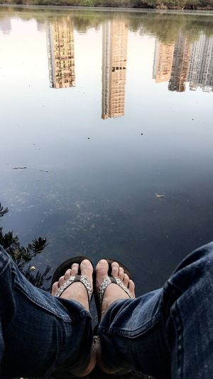 Reflection Water Low Section Personal Perspective Real People Human Leg Outdoors Nature Sky