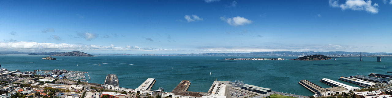 Landscape of San Francisco bay stitching several images together in lightroom Bay Beauty In Nature Blue City Cityscape Horizon Over Water Landscape Panorama Panoramic San Francisco Scenics Sea Sky Wide Shot