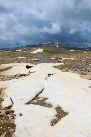 The peak of Mt. Aragats, Armenia Armenia Ice Aragat Aragats_mountain Beauty In Nature Cloud - Sky Day Hot Spring Landscape Mountain Nature No People Outdoors Peak District  Scenics Sky Snow Tranquil Scene Tranquility Water Perspectives On Nature