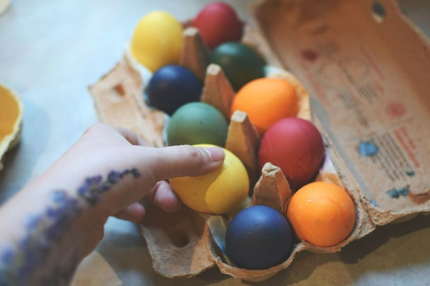 Easter Ready Dyeing eggs. Dyeing Eggs Colorful Pastel Colorful Eggs Easter Spring Warm Colors Tattoo Flower Tattoo Having Fun Hands At Work Hands In Action Putting Eggs Into The Carton