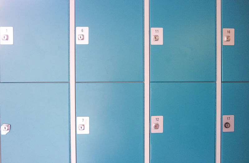 Full Frame Shot Of Blue Lockers