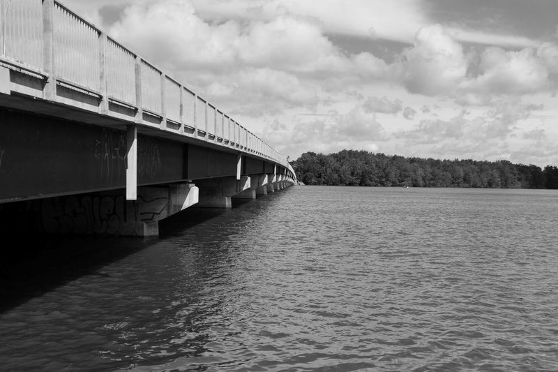 Bridge - Man Made Structure Connection River Cloud - Sky Sky Built Structure Architecture Water Transportation No People Outdoors Day Nature Walking Around Blackandwhite