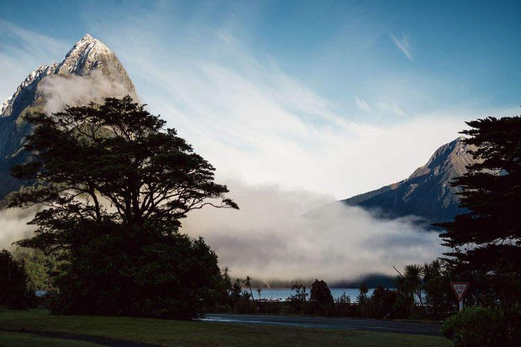 Beauty In Nature Cloud - Sky Day First Eyeem Photo Landscape Milford Sound Mountain Mountain Range National Park Nature No People Outdoors Scenics Sky Snow Travel Destinations Tree Vacations EyeEmNewHere