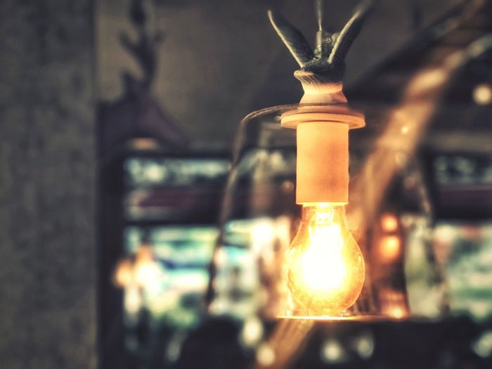The Lamp in rainy day. Focus On Foreground Close-up No People Indoors  Illuminated Day