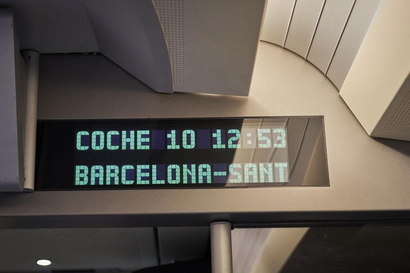 Barcelona SPAIN Wagon  Alta Velocidad Arrival Departure Board Avian España High Speed Train Illuminated Indoors  Information No People Sants_estacio Spaın Text Time Train Train - Vehicle