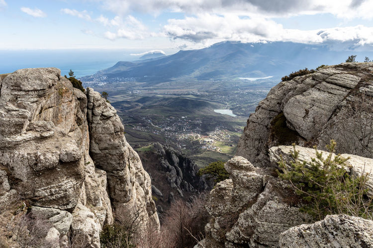 Mountain Sky Cloud - Sky Rock Scenics - Nature Beauty In Nature Mountain Range Tranquil Scene Rock - Object Tranquility Rock Formation Solid Landscape Environment Nature Non-urban Scene Day Idyllic Geology No People Formation Outdoors Mountain Peak Eroded