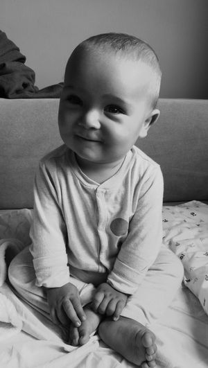 Baby Smiling Blackandwhite My Little Son Daddy And Son Babyboy Real People My Proud Daddysboy Sweet Child Sitting Cute