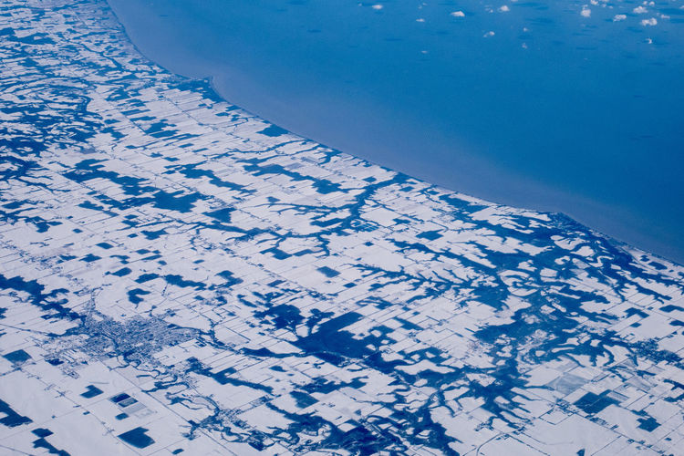 Coastline Plane View Winter Aerial View Beauty In Nature Canada Lake Nature No People Snow Water