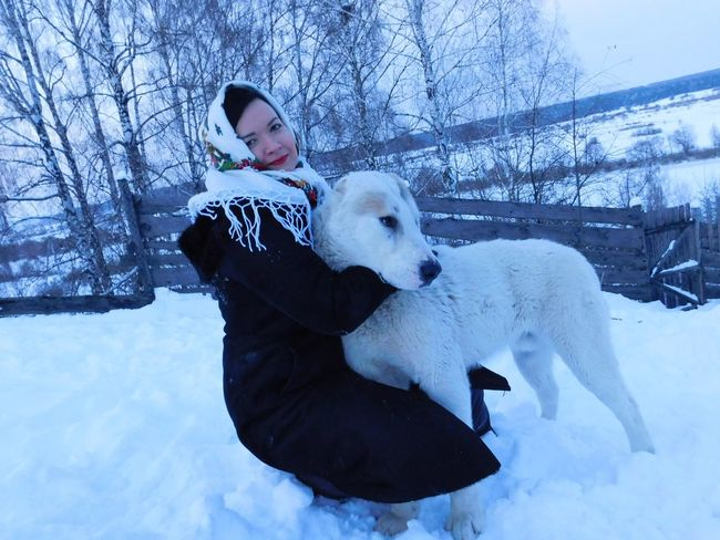 Aslan. My friend and guardian. Snow White Dog Friendship Woman And Dog Winter Dog Animal Pets Outdoors Nature