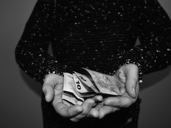 Human Body Part Point Of View Lifestyles Money Money Around The World Euro Salary Blackandwhite Blackandwhite Photography Monochrome monochrome photography Dark Human Hand Holding Close-up Palm Capture Tomorrow