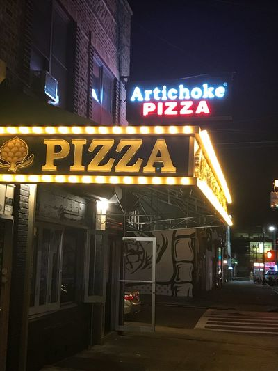Pizza Illuminated Night Text Architecture Building Exterior Communication City