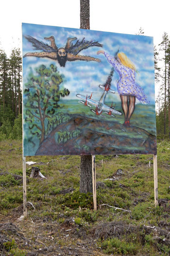 A Burning Airplane Is Falling A Man Flying Absurd World Day Dreams And Nightdreams Finland Folk Art  Kari Tykkäläinen Nature On The Road Outdoors