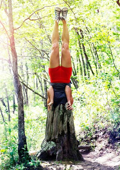 In The Forest Hide And Seek Headstand Body & Fitness Fun Being Silly