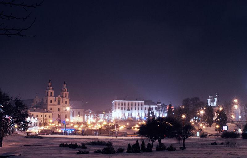 City Lights At Night Minsk,Belarus Nikon Winter Architecture Building Exterior Illuminated Night
