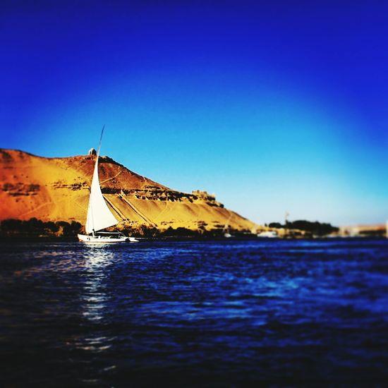 Felucca River Nilo Egypt Aswan Blue Blue Sky Water Sand Desert