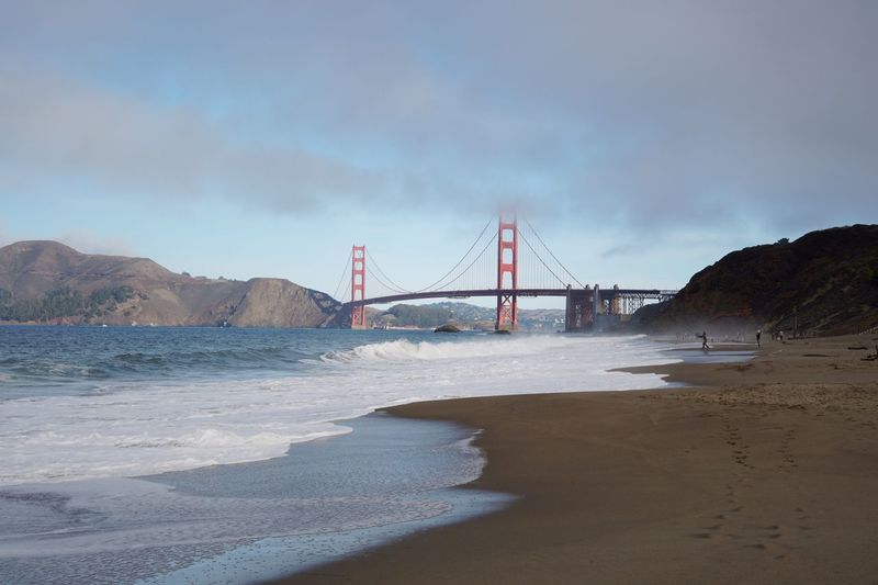 Golden Gate from Baker Beach Pacific Pacific Ocean Ocean View Vacations Water Bridge Land Bridge - Man Made Structure Built Structure Sea Sky Beach Suspension Bridge Architecture Nature Travel Bay Tourism Outdoors Travel Destinations Sand Cloud - Sky Connection Engineering