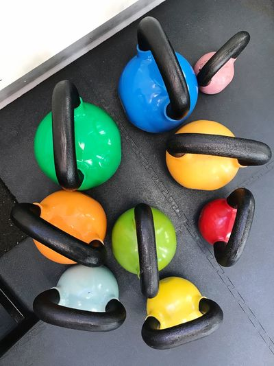 Kettle Bells Kettlebell  Kettle Bell Fitness Fitness Training Gym Workout High Angle View Multi Colored Indoors  No People