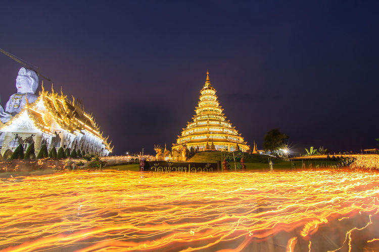 Chiang Rai, Thailand Magha Puja Day Wat Hyua Pla Kang Architecture Building Exterior Built Structure Illuminated Night No People Outdoors Place Of Worship Religion Sky Spirituality Tradition Travel Destinations