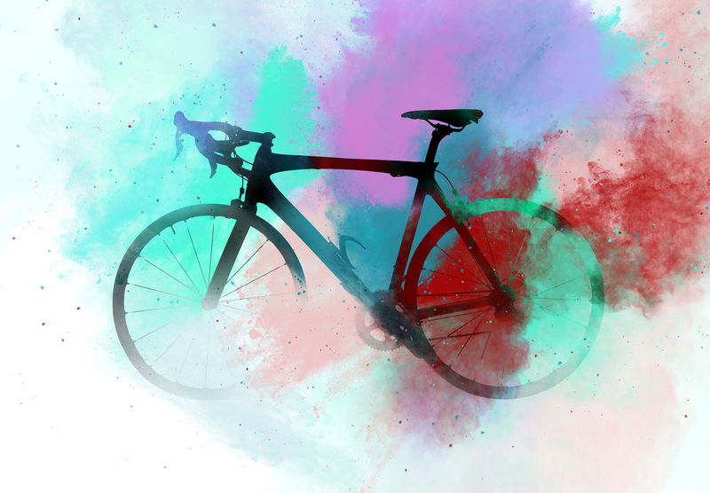 Silhouette of a road bicycle combined with an abstract multicolored watercolor. Bright colors. Digital art Altered Bicycle Bike Classic Collage Colorful Colors Contour Digital Art Digital Watercolor Digitally Generated Illustration Multi Colored No People Nobody Outline Road Bike Silhouette Transportation Vehicle Watercolor Wheel
