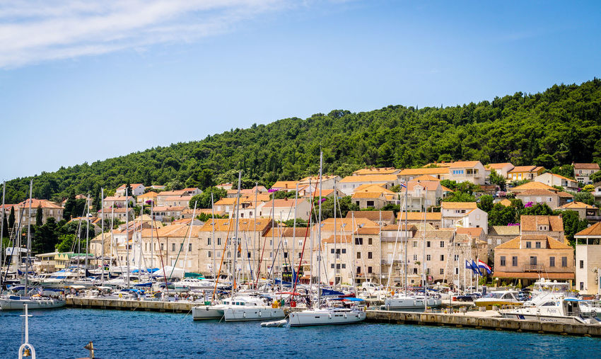 View at Korcula Boats Boats And Water Cityscape Clear Sky Croatia Day Harbor Nautical Vessel No People Outdoors Sailboat Sailing Ship Sky Skyline Travel Urban Exploration Urban Landscape Water Waterfront
