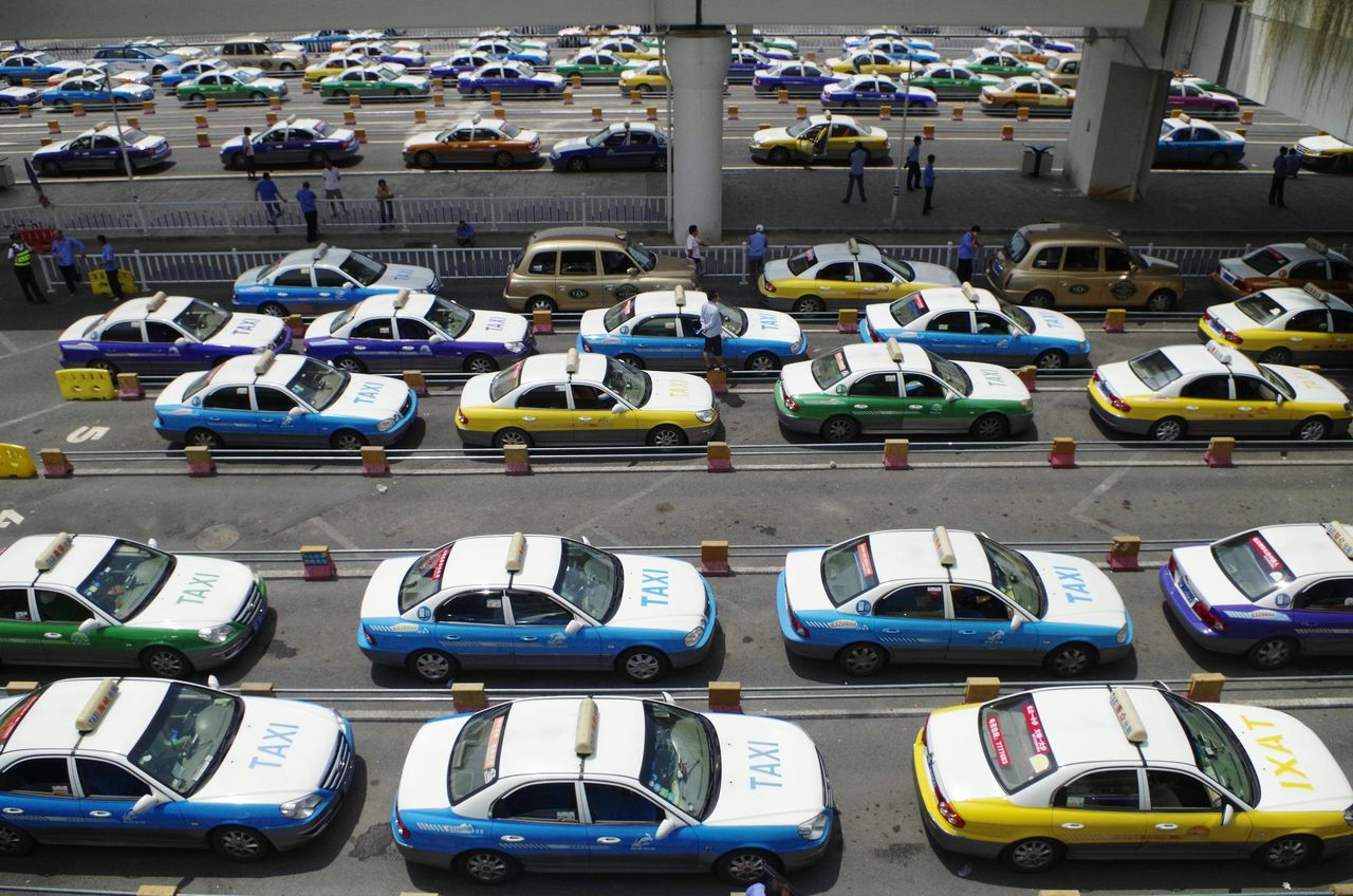 High angle view of taxis at stand