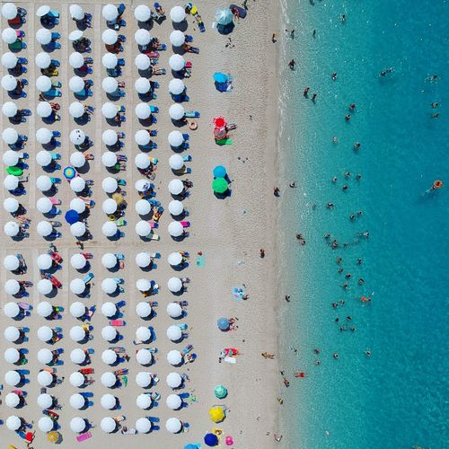 Drone  Dronephotography Dji Phantom Beach Summer Aerial View Aerial Shot Greece Dji Parasol EyeEm Selects Multi Colored Full Frame Variation A New Perspective On Life