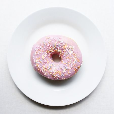 Food Sweet Food Food And Drink Indulgence No People White Background Freshness Plate Donut Dessert Temptation Ready-to-eat Indoors  Studio Shot Unhealthy Eating Close-up Day Pink Pink Donut Doughnut Treat Sprinkles Party Food Sweet