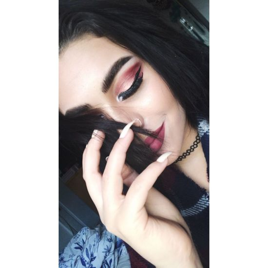 Makeup Red Young Adult One Young Woman Only Front View Beauty Human Hand Self Portrait Love ♥ LoveYourSelf ♥ First Eyeem Photo