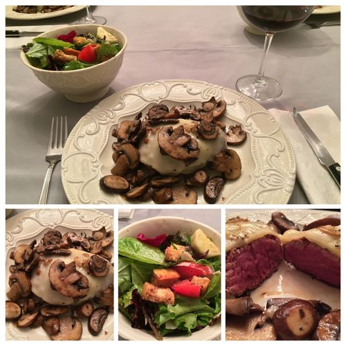 Tonight, I grilled filet mignons, with baby portobello mushrooms sautéed with sliced garlic, topped with mozzarella cheese. Served with an incredible salad and my 2013 Italian Amarone wine. ICanCookMyAssOff ItsAnItalianThing Nomnombomb Grilling MyFoodPics HomemadeItalianWine TheExpensiveWinos LaDolceVita