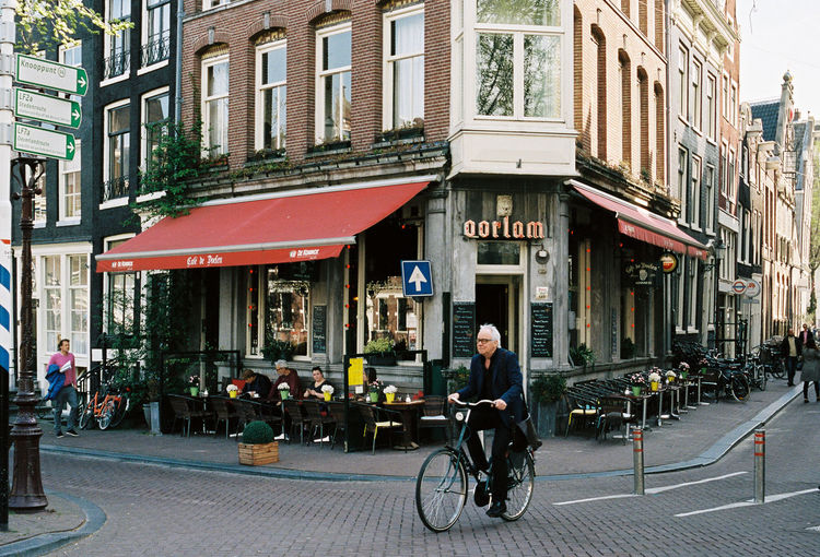 View of bicycles in city