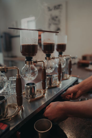 Close-up of siphon coffee