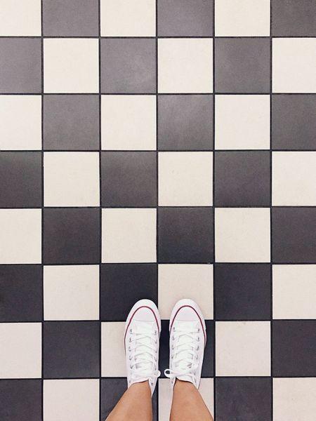Let's play. Shoes Happy Feet Interior Design Geometry Black And White Flooring Low Section Shoe Human Leg One Person Tile Personal Perspective Body Part Human Body Part Checked Pattern Pattern Standing Tiled Floor High Angle View