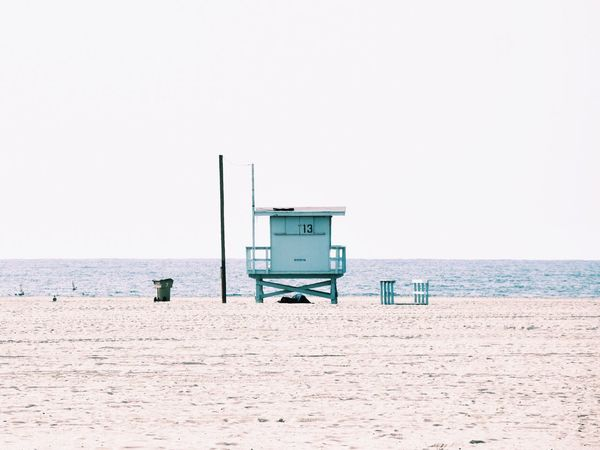 Sea Horizon Over Water Beach Built Structure Water Nature Sand Lifeguard Hut Day Clear Sky Outdoors Architecture Beauty In Nature Sky No People Scenics